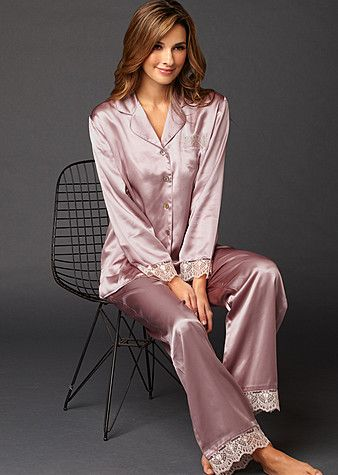 Sleep-In Silk Pajama Petite  $198.00 fine luxury sleepwear. #silkpajama #pajama
