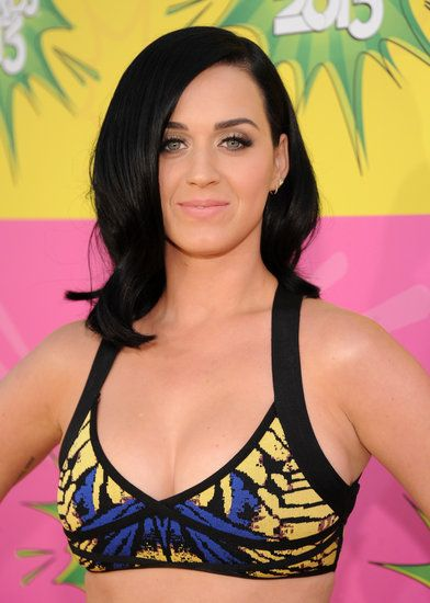 Katy Perry: Katy Perry's longer lob is filled with body but also has an edge thanks to that inky black hue.