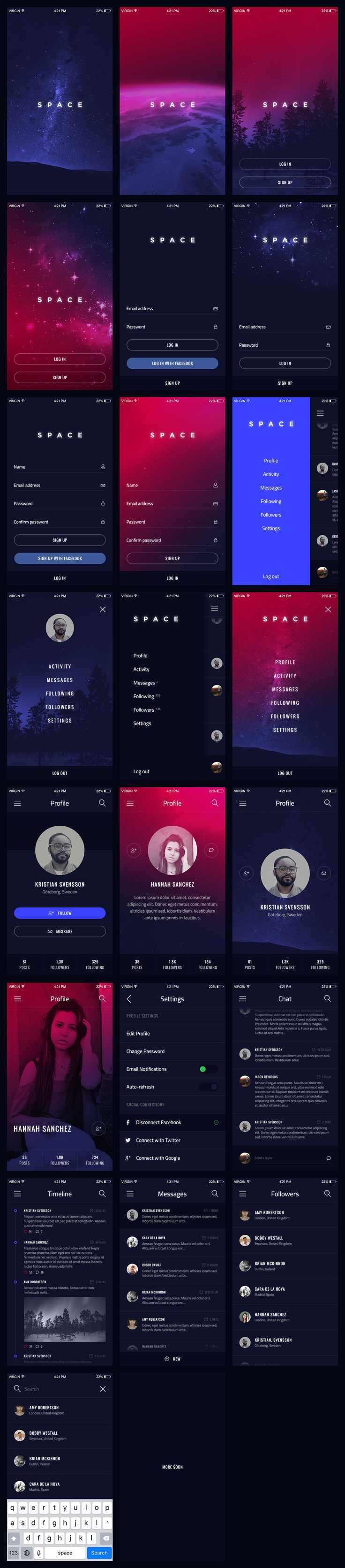 Space: iOS / Android UI Kit by jsnrynlds on Creative Market