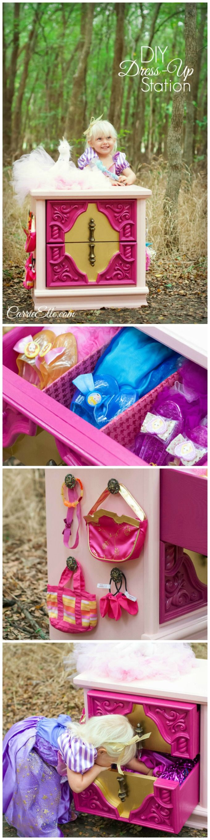 Need a place to put alllllll the dress-up clothes? This nightstand was converted into a dress-up station, inspired by Sleeping Beauty. It keeps all of our dress-up clothes organized and in one place! Be sure to check out the fun features inside and see how we made it functional *and* pretty!
