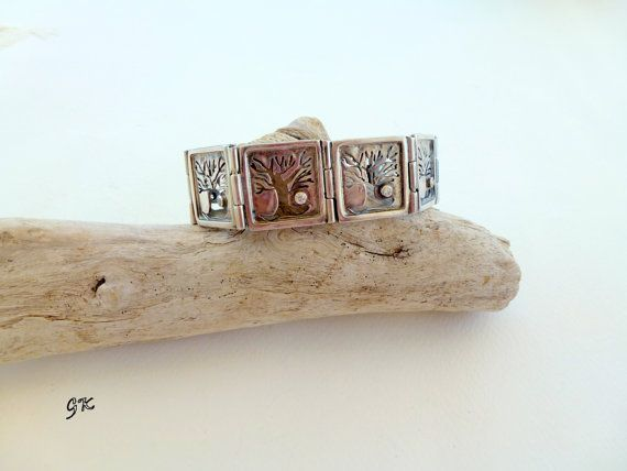 Free shipping - Autumn, Silver sterling bracelet