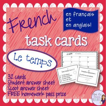 These French task cards are perfect for practicing French weather expressions. There are a a mix of skills included in this set, but with French and English cards, you can easily choose which cards meet your current curriculum needs.
