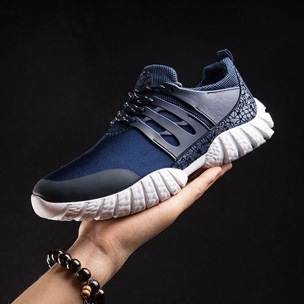 Men Trainers Breathable Splicing Wear-resistant Sport Casual Sneakers