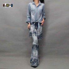 De las mujeres de la novedad hippie hip hop flaco pantalones de campana borla moto flare pierna prelavado en busca de la vendimia jeans pantalones para las mujeres(China)