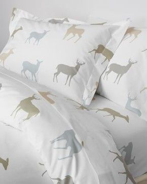 Garnet Hill Deer Percale Bedding - Double - Flat - Multi modern-flat-sheets