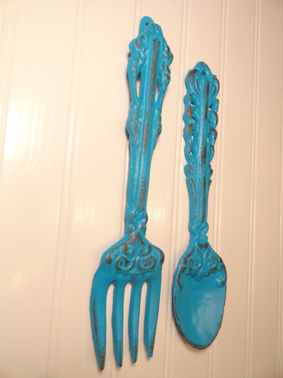 Cast Iron Large Fork and Spoon Wall Decor, Maui Blue Kitchen Wall Decor, Cooking Gift, Breakfast Room, Retro Style, Shabby Chic Beach Decor