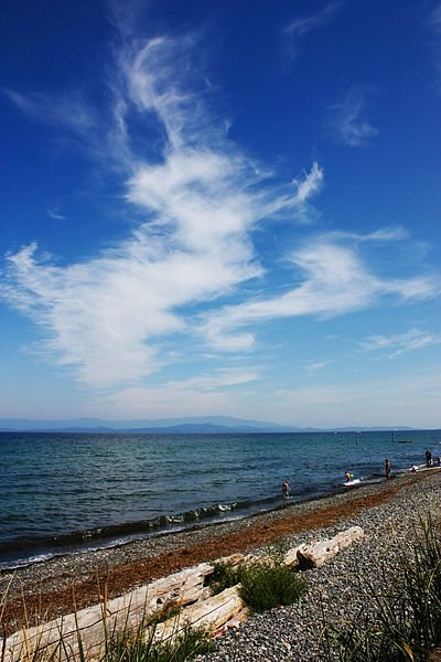 A view of Georgia Strait from Qualicum Beach in Canada. A scenic town to visit.