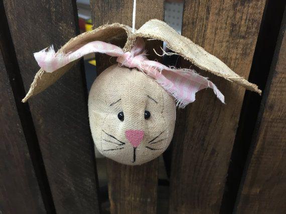 Bunny rabbit head ornament by CozyExpressions on Etsy