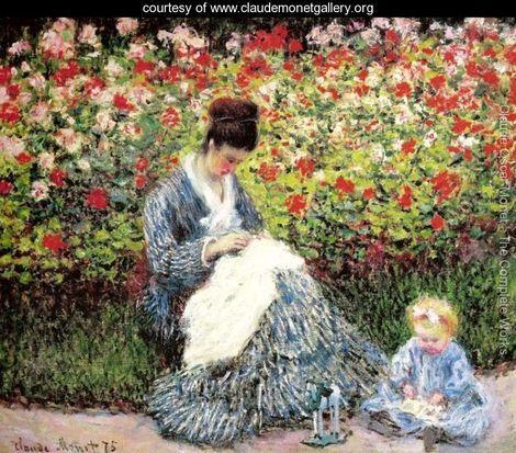 Madame Monet and Child (Camille Monet and a Child in a Garden) - Claude Oscar Monet: Camil Monet, Monet Paintings, Monet Art, Art Paintings, The Artists, Oil On Canvas, Claude Monet, Children, Artists Gardens