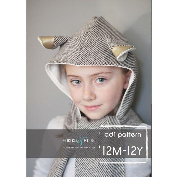 Kapuzen-Schal mit Ohren / Tieren   bis 12 Jahre   Heidi & Finn bei etsy