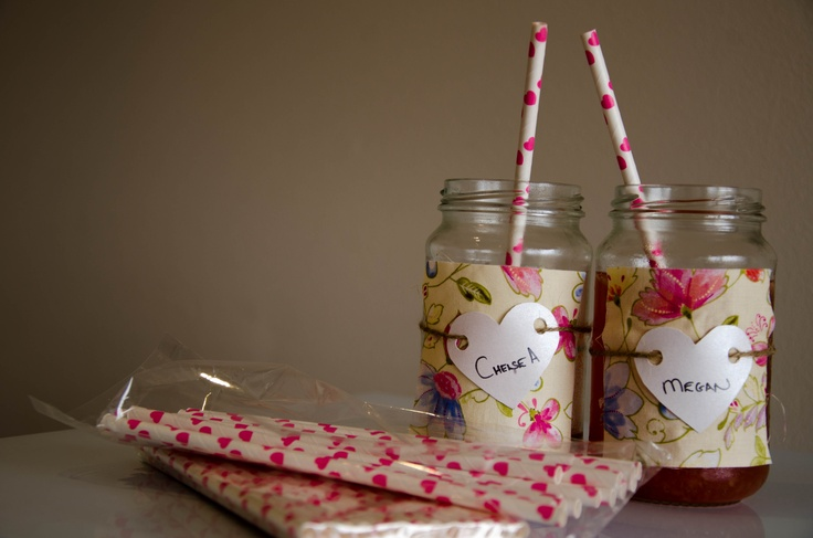 I got some glass jam jars and tiled material sqaures, tried cut out hearts with string around each jam jar to create a speacial take away for each of the girls invited.