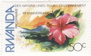 Sello: Flower (Ruanda) (10th anniversary of UN Conference on Human Environment) Mi:RW 1198,Yt:RW 1073,Bel:RW 1133
