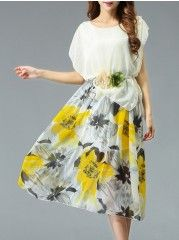 Printed Awesome Round Neck Maxi Dress