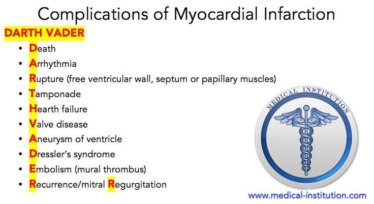 Complications of Myocardial Infarction: The first step in the management of the patient with an acute myocardial infarction is prompt recognition, since the beneficial effects of therapy with re-perfusion are greatest when performed soon after presentation.  #mnemonics #medical #USMLE #medicalmnemonics #medicalschool #nurse #nursingschool #heart #MI #medicalstudents