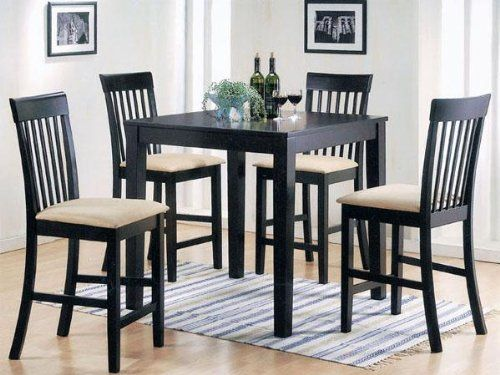 pc espresso finish wood counter height small dining table set : small dining tables sets