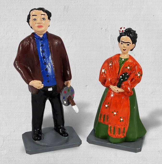 Esculturas de cerâmica Frida e Diego Rivera. Você pode levar para sua casa um pedacinho do méxico e do Guacamole. Frida. Frida Kahlo. Escultura. Decoração. México.