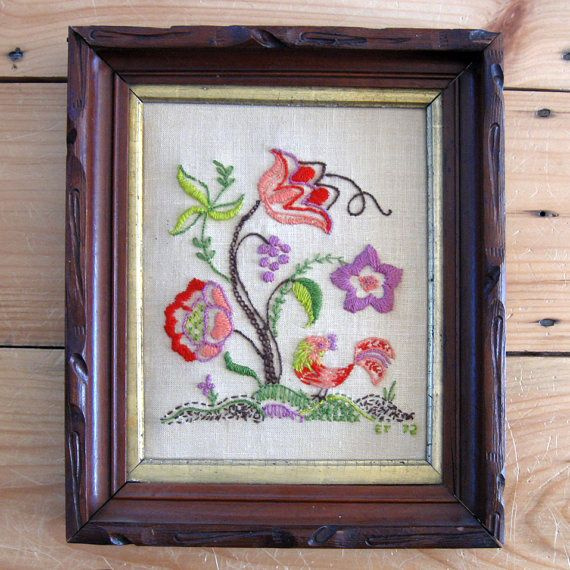 Vintage Floral and Rooster Crewel Work in Frame, $19