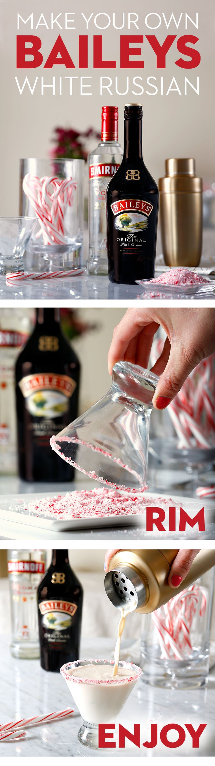 Bring your own flavor to this festive cocktail for this year's holiday party by trying a peppermint candy cane rim on this Baileys White Russian. The Rim: Place crushed candy canes on a small plate or saucer, wet the outside rim of the glass with water, and rotate the rim to coat with candy. The Cocktail (serves 1): Mix 1.5oz Baileys Irish Cream Liqueur, 0.5oz Smirnoff Vodka, 2oz milk, and ice into a shaker. Pour, and enjoy!