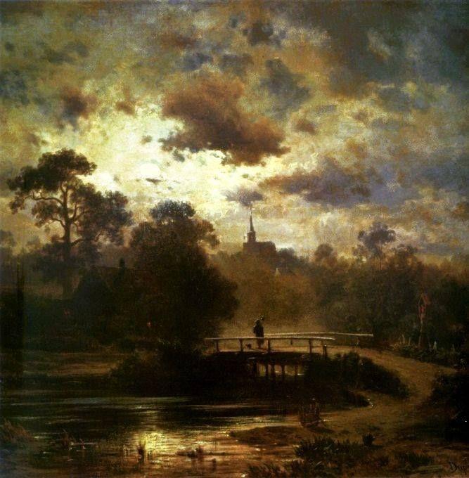 Jules Dupré (French Barbizon-School landscape painter, 1811–1889) Landscape by Moonlight, 1852