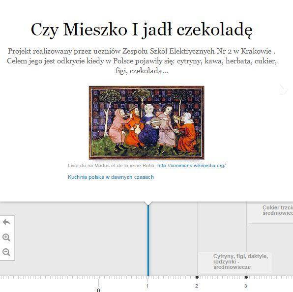 W naszym projekcie szukaliśmy informacji o  tym kiedy w Polsce pojawiły się; kawa, ziemniaki, cukier, czekolada… Uczniowie wypełniali specjalną kartę pracy na której podawali informacje oraz odsyłali do ciekawych stron. Wykorzystując zebrane materiały przygotowaliśmy oś czasu w programie Timeline Js. Tworzymy ja korzystając z naszych dokumentów Google, gdzie wypełniamy specjalnie przygotowany formularz. Co ciekawe, każda zmiana jest od razu uwzględniana na naszej osi czasu.