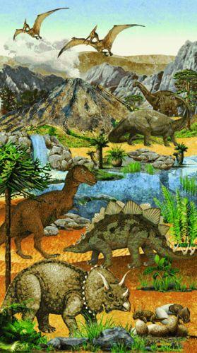 Stonehenge-Kids-Prehistoric-Quilt-Fabric-Dinosaurs-Panel-23-x-42