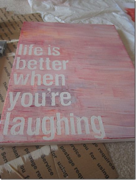 "Diy canvas art-Pinner said, "" I have been using the letter stickers found at target near the poster board in the office products/markers aisles! They tend to stick a little better when painting over them."""