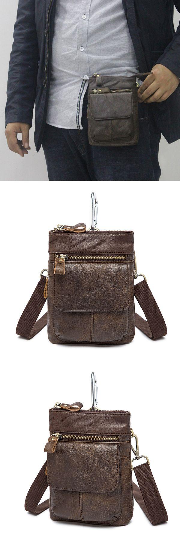 Male Genuine Leather Waist Bag Powerbank Phone Waist Pouch Vintage Small Crossbody Bag
