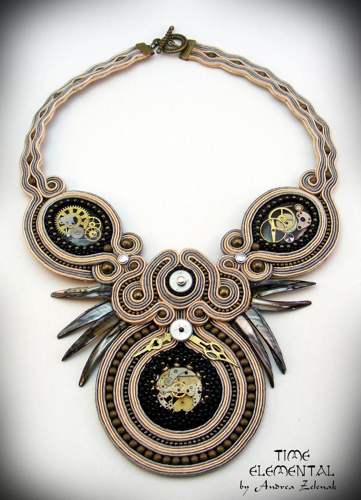 Soutache necklace - Time - Andrea Zelenak