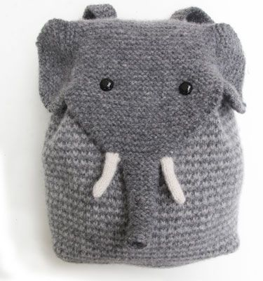 Elephant Backpack knitkit. http://www.morehousefarm.com/KnittingKits/Accessories/ElephantPack/