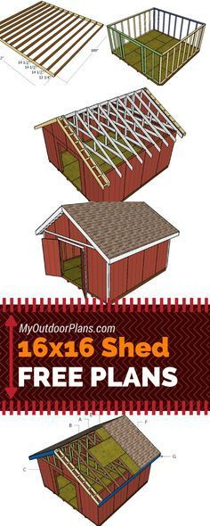 Free plans for you to learn how to build a 16x16 shed with a gable roof. Step by step instructions #diy #shed myoutdoorplans.com