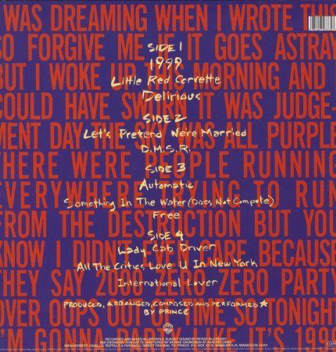 Prince 1999 (2lp 180 Gram Vinyl) Album Cover, Prince 1999 (2lp 180 ...