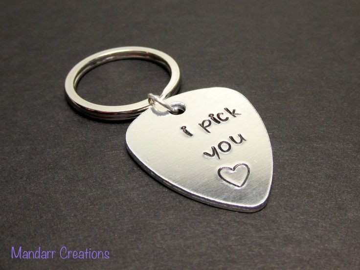 I Pick You, Hand Stamped Guitar Pick Keychain, Aluminum Key Chain - pinned by pin4etsy.com