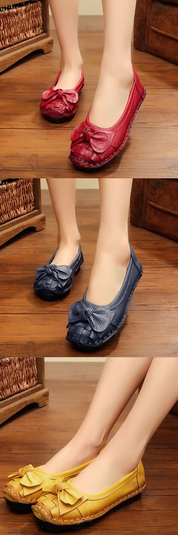 US$26.12 SOCOFY Butterfly Knot Woven Soft Retro Flat Shoes