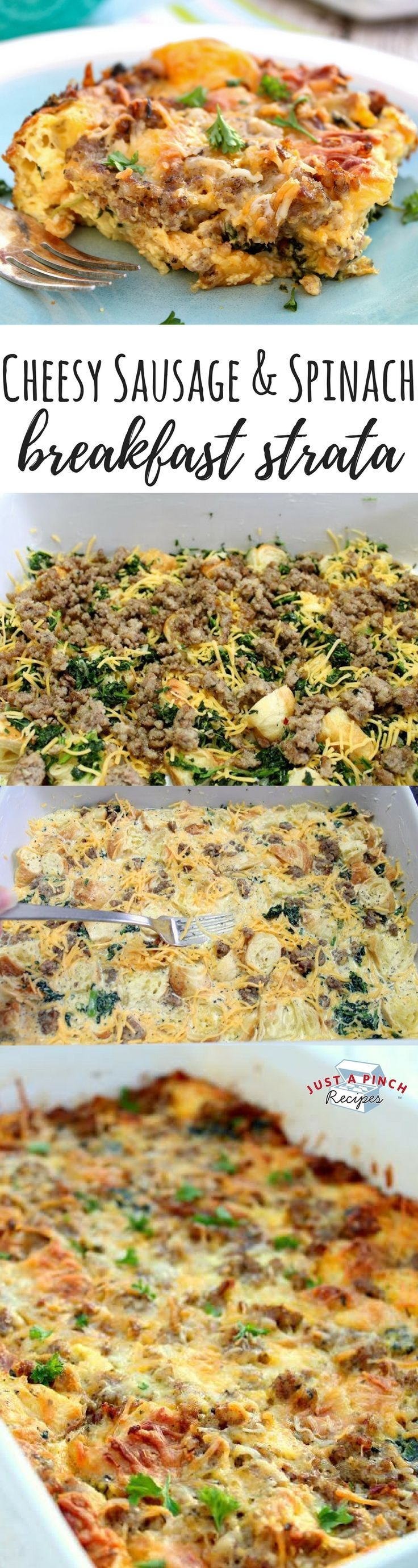 This easy, cheesy sausage & spinach breakfast strata recipe is an easy breakfast or brunch recipe you can make ahead and pop in the oven the next day!