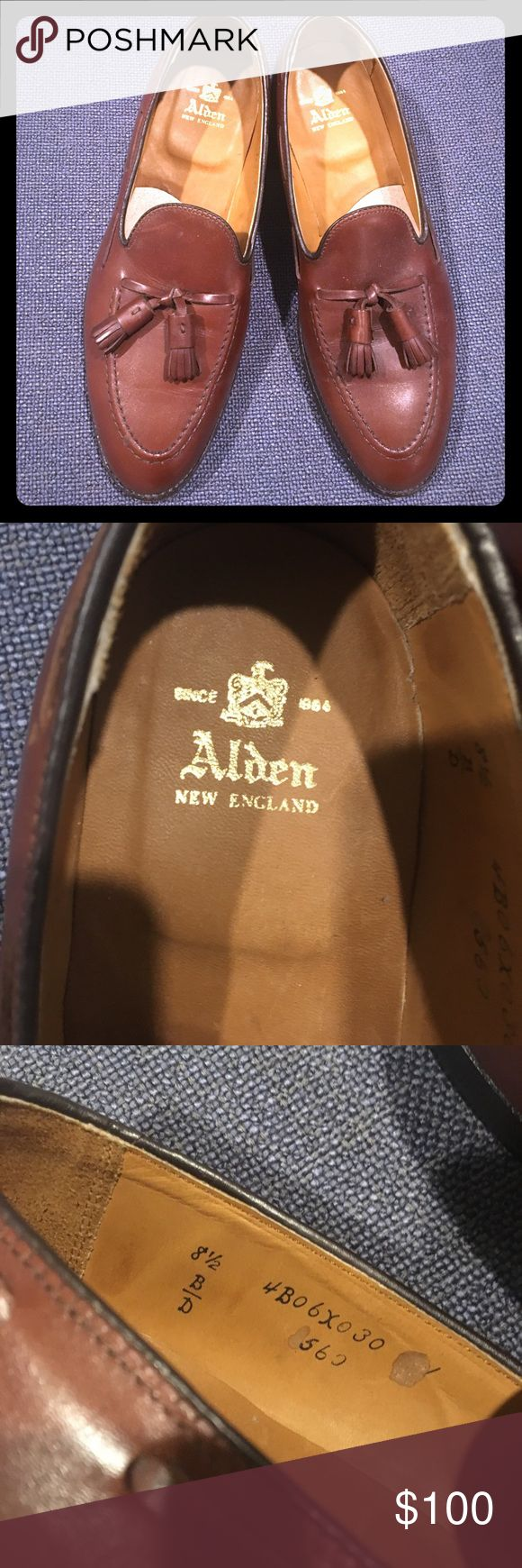 Alden Brown Leather Tassel Loafers Beautiful Alden Brown Leather Tassel Loafers. Light wear; price reflects. Size 8.5. Alden is a premier and classic shoe manufacturer and quality is impeccable. Originally $500- great deal! Shoes