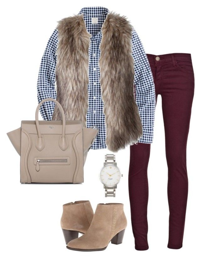 """Fur"" by thepinkcatapillar on Polyvore featuring Current/Elliott, J.Crew, Kate Spade and CÉLINE"