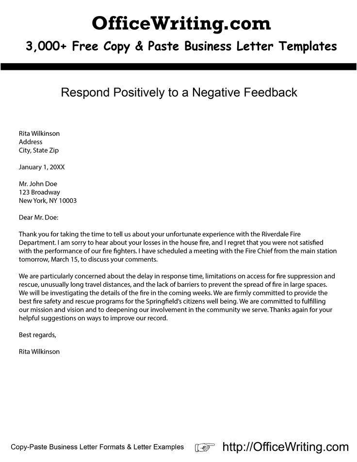Respond Positively to a Negative Feedback Check our over 3000 - sample business letters format
