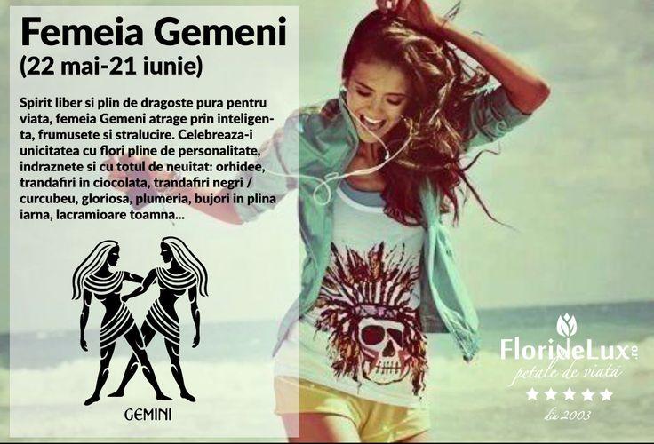 Intre 22 mai-21 iunie sarbatorim femeile GEMENI! Iata recomandarile speciale ale floristilor FlorideLux pentru un cadou WOW dedicat femeilor Gemeni: http://petaledeviata.ro/flori-pentru-femeia-gemeni/