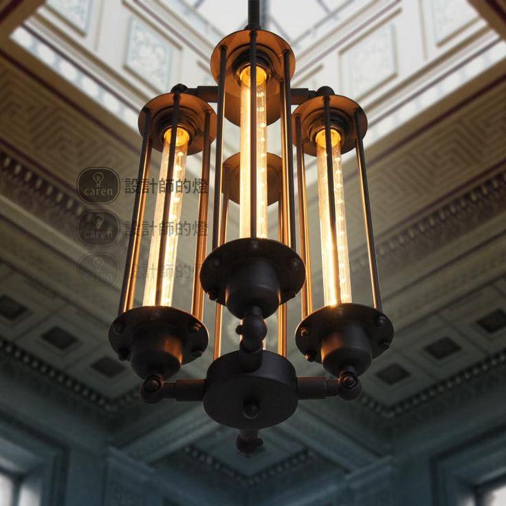 CY Vintage Restoration 4 Bulb Steampunk Pendant Hanging Lamp Aged Steel C.