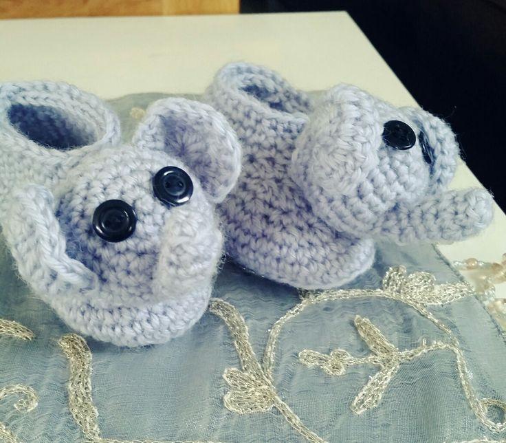 Crochet elephant baby booties🐘
