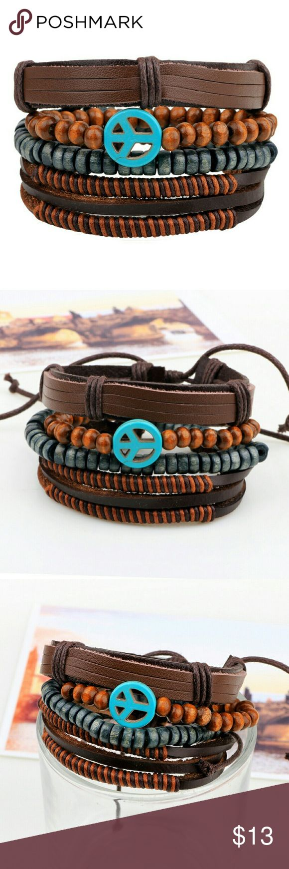 "4 pieces a set Fashion Jewelry Bracelets Vintage Peace sign Bracelets   Feature: fashion, vintage, peace sign  Material: leather, coconut beads, braid belt   Specifications: 2.5"" in dia, 7""-8"" in length, adjustable size    Makes a great gift for friend and family or self purchase Jewelry Bracelets"