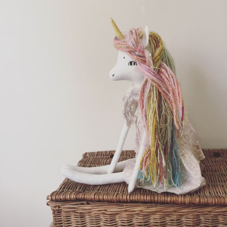 This listing is for a one of a kind Forest Creature Unicorn Doll. This magical rainbow unicorn is made out of cotton, wool felt, and a variety of different yarn for hair. She comes with a removab...