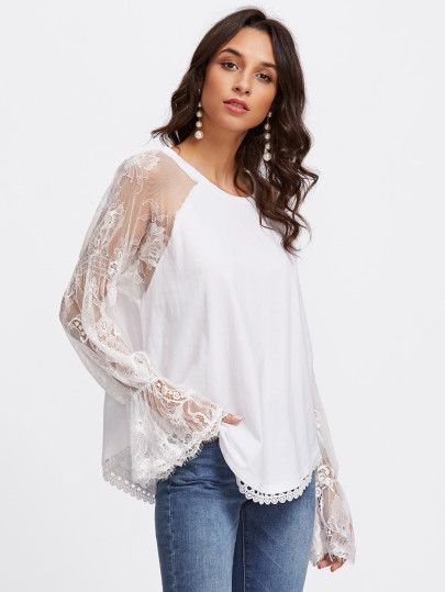b6a6007bbe1d0 Mesh Lace Panel Fluted Sleeve Blouse