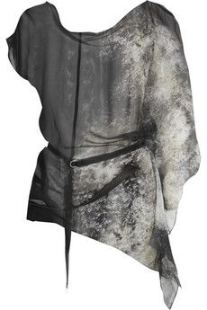 Helmut Lang Leather-belted printed silk-chiffon top | THE OUTNET