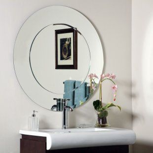Oriana Modern Frameless  Mirror - 35 diam. in. powder room