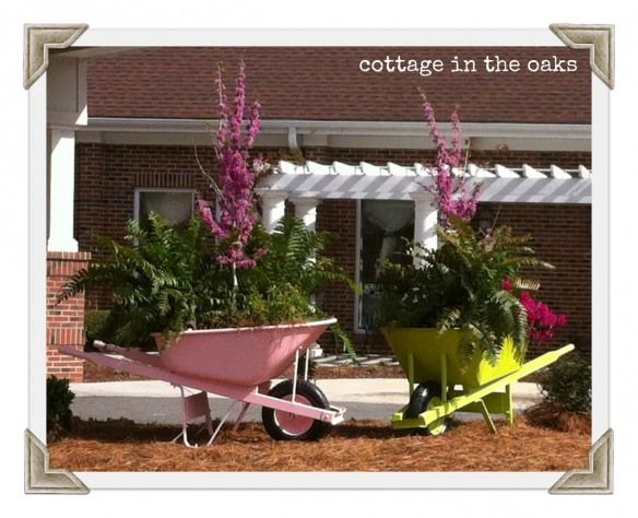 wheelbarrow gardens - flower bed...need to find shade friendly plants...