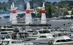 Red Bull Air Race. On Perth water. Thousands of spectators watch the planes do their manouvres. WAN-0003268 © WestPix