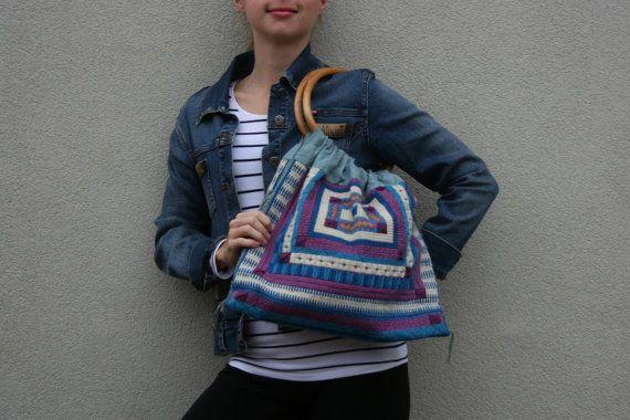Woven tote purse handbag boho embroidered purse by TaylorGirlsShop