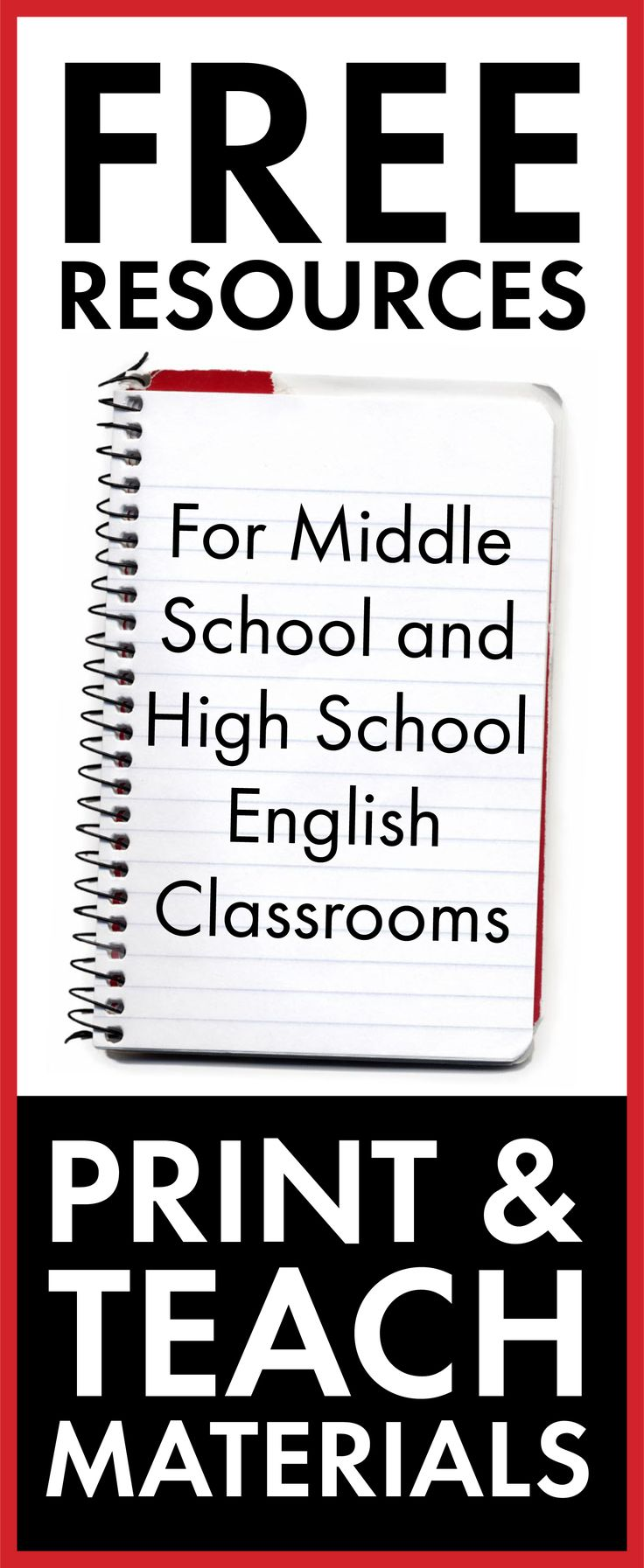 Free middle school and high school English class resources.