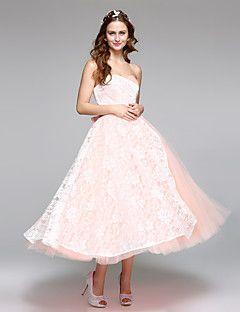 Lanting Bride® A-Linie Hochzeitskleid Einfach hinreißend  Tee-Länge Herzausschnitt Spitze Satin Tüll mit Schleife Spitze Schärpe / Band